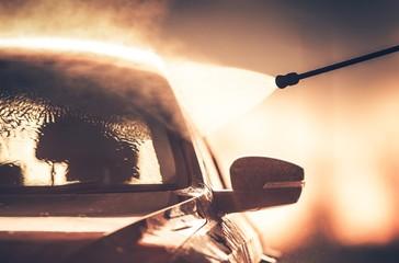 Washing Vehicle in Car Wash