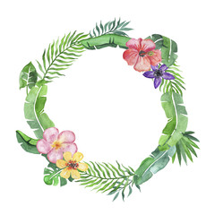 Tropical wreath with fowers