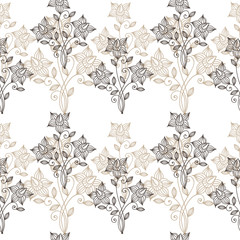 Floral ornate line seamless pattern
