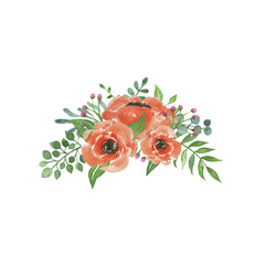 Watercolor arrangement with peach flowers