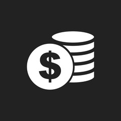 Money icon on black background. Coins vector illustration in flat style. Icons for design, website.