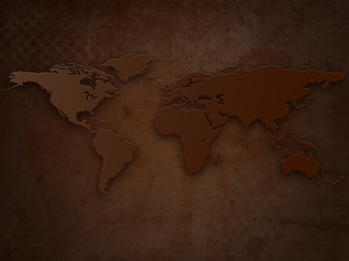 Abstract Brown Old Grunge World Map