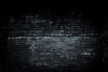 Old black wall background. Texture with border black vignette background. Studio backdrop - well use as back drop background, black gradient frame.