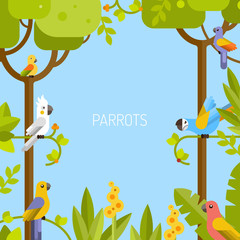 Beautiful tropical background. Jungle, parrots. Vector flat illustration.