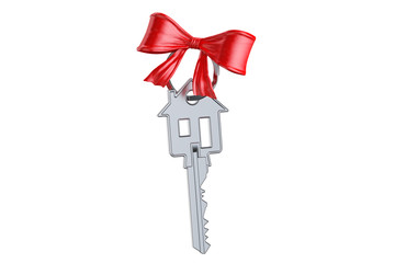 Home key with red bow, gift concept. 3D rendering