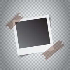 Photo frame with adhesive tape on isolated background. For your photography and picture. Vector illustration