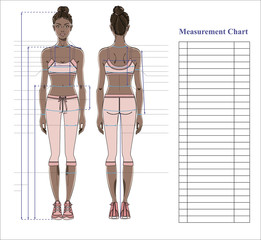 Woman body measurement chart. Scheme for measurement human body for sewing clothes. Female figure: front and back views. Young african woman in sports wear. Template for dieting, fitness. Vector.