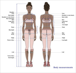 Woman body measurement chart. Scheme for measurement human body for sewing clothes. Female figure: front and back views. Young african american woman. Vector.