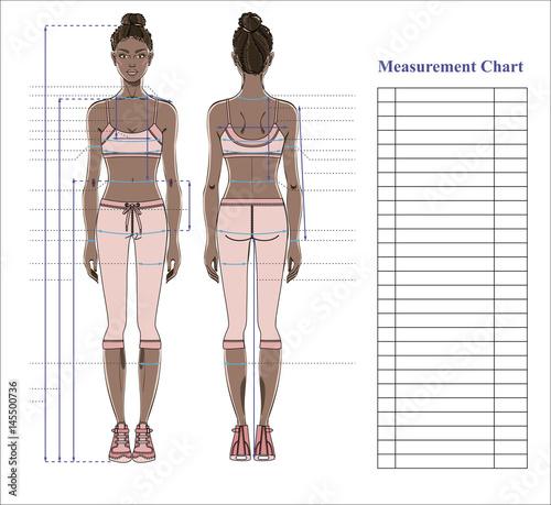 Woman body measurement chart. Scheme for measurement human body for ...