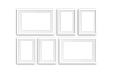 Six white frames set mock up. Interior decor wallpaper