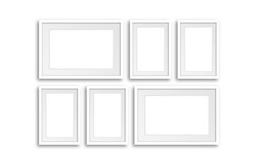 Six white frames set mock up. Interior decor wallpaper