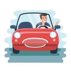 cartoon chereful young man driving red car on the road. Front view