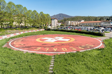 Helicopter landing pad near the hospital of Cittiglio in the province of Varese, Italy