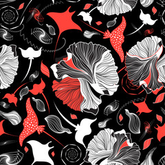 Vector seamless abstract pattern with rays