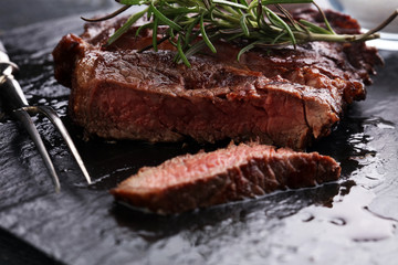 Barbecue Rib Eye Steak on Slate Slab - Dry Aged Wagyu Entrecote Steak