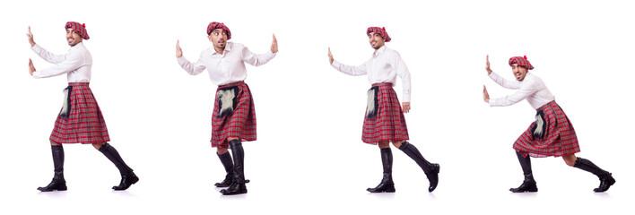 Scottish man pushing virtual obstacle