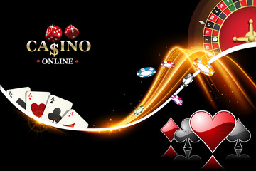 Design casino banner with roulette, poker chips, playing cards. Vector the wheel fortune in casino