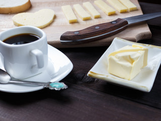 morning breakfast with coffee and some cheese