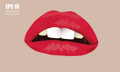 The woman's lips. Open mouth, white teeth and lush lips. At body background.