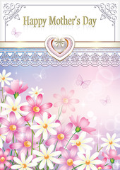 Greeting card for Mother's Day with floral background