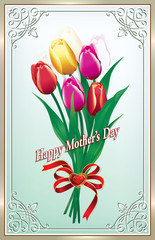 Greeting card for Mother's Day with bouquet of tulips
