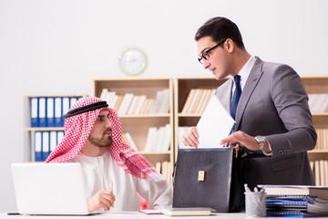 Diverse business concept with arab businessman