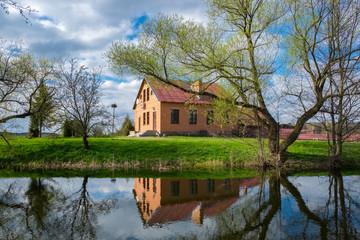 Spring park of Kossovo village near Tadeusz Kosciuszko house, Brest region, Belarus.