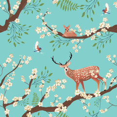 Seamless background of Sakura blossom or Japanese flowering. Flying birds and Sika deer staing on tree brunch. Traditional Asian retro nature pattern. Vector