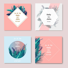Collection of Wedding invintations with Trendy Summer Tropical Leaves. Vector Design. Cards template