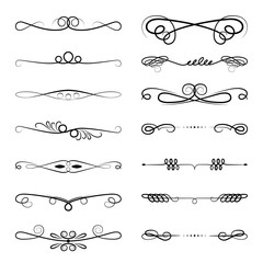 Set of design elements vintage dividers in black color. Page decoration. Vector illustration. Isolated on white background. Can use for birthday card, wedding invitations
