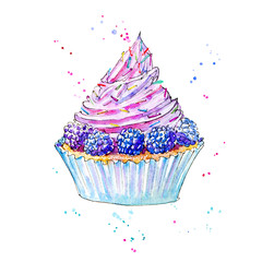Blackberry cupcake.Picture of a dessert.Watercolor hand drawn illustration.