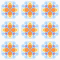 Seamless abstract colorful pattern with blue and orange elements. Vector illustration