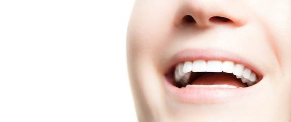 Young woman perfect white teeth smile closeup with copy space