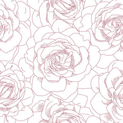 Floral seamless pattern. Beautiful roses background. Retro style contour drawn illustration. Design may be used for wallpaper, textile, wrapping paper, invitation and greeting cards.