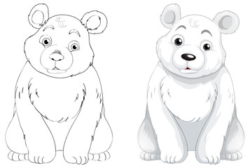 Doodle animal outline of polar bear