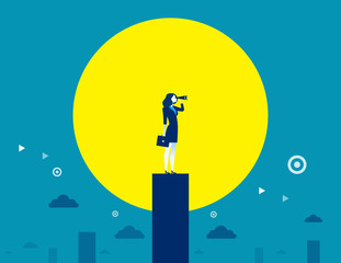Businesswomen looking telescope for target to success. Concept business success illustration. Vector flat.