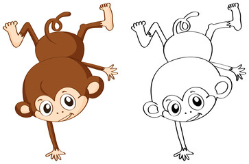 Doodle animal character for monkey flipping