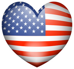 Icon design for flag of America in heart shape