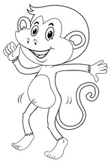Doodle animal outline of happy monkey
