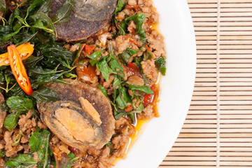 Preserving Duck  with stir-fried pork and basi