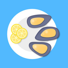 Cooked mussels on plate in flat style on blue background