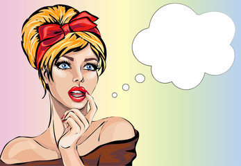 Pin up style sexy dreaming woman portrait with speech bubble, pop art girl looking up face, vector