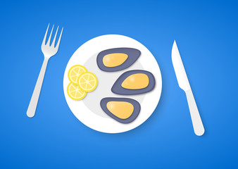 Cooked mussels on plate with fork and knife, on blue background