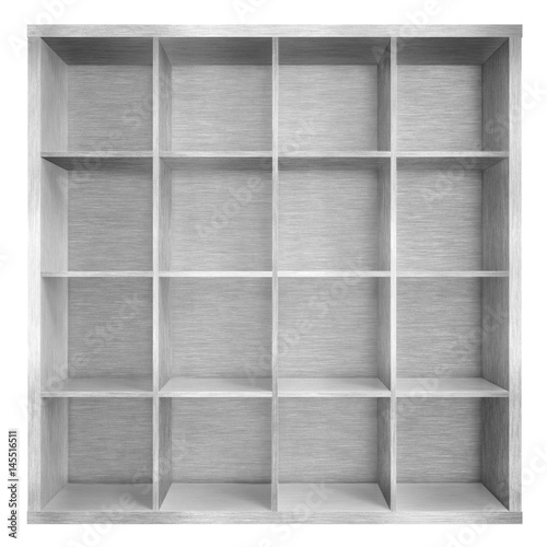 Empty Metal Square Bookshelf Or Bookcase 3d Illustration