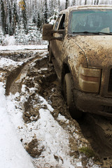 A vehicle stuck in the mud