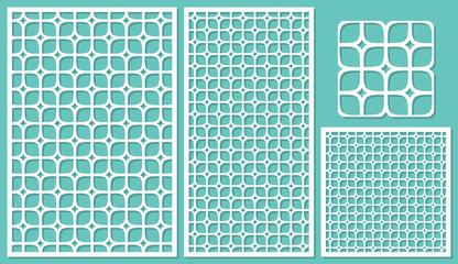 Set decorative panels-laser cutting. Square geometric pattern allover. The ratio 2:3, 1:2, 1:1, seamless. Vector illustration.