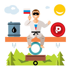 Vector Unstable Russian economy. Balance of oil and the ruble. Humor concept. Flat style colorful Cartoon illustration.
