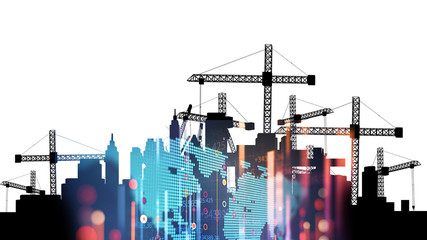 3d illustration of mobile and tower cranes in silhouette
