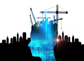 double exposure image of virtual human and construction crane 3dillustration