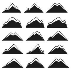 Set of Hipster Mountain Logo or Symbol. Isolated on White Background.